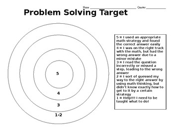 Problem Solving Self-Evaluation Recording Target