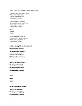 Problem Solving Song for Kids (to the tune of the Addams F