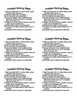 Problem Solving Steps Labels