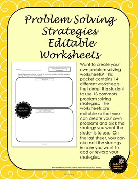 Problem Solving Strategies Math Worksheet Teaching Resources