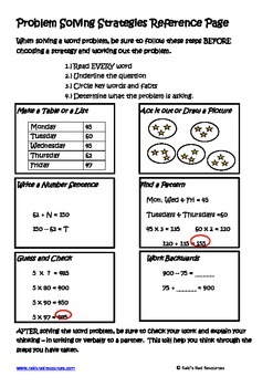 Problem Solving Strategies Lesson for Interactive Math Notebooks
