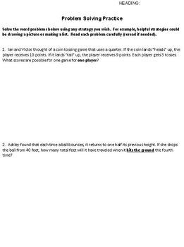Problem Solving Strategies Pratice