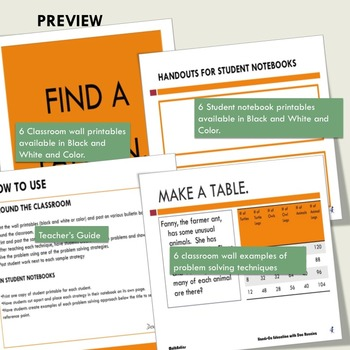Problem Solving Strategies for bulletin boards and  interactive notebook