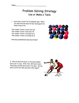 Problem Solving Strategies - Use or Make a Table