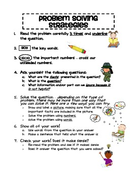 Problem Solving Strategy Poster - Great for Word Problems!