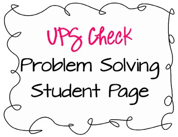 Problem Solving Student Page - UPS Check