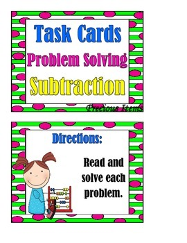 Problem Solving:  Subtraction Word Problems - Task Cards