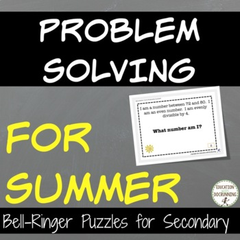 Summer Middle School Math Problem Solving Puzzles and Bell