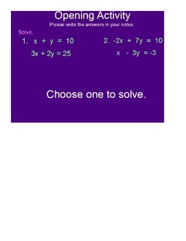 Problem Solving Systems of Linear Equations