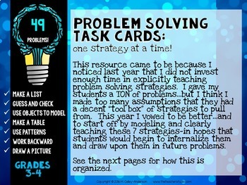 Problem Solving Task Cards: 7 Strategies for Grades 3-4