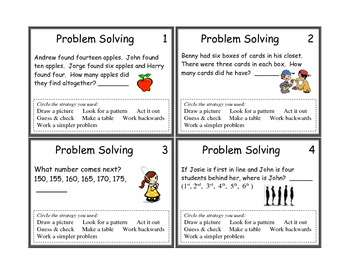 Problem Solving Task Cards Grade 3 and 4