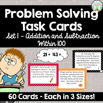 Addition and Subtraction Word Problem Task Cards - Set 1 - 60 cards