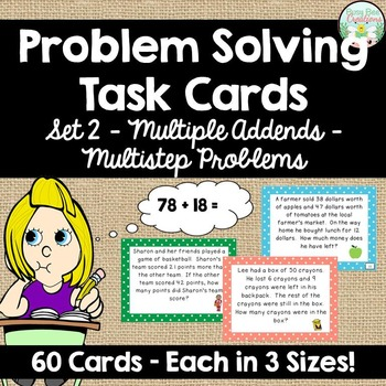 Addition and Subtraction Word Problem Task Cards - Set 2 - 60 cards