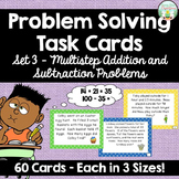 Addition and Subtraction Multistep Word Problem Task Cards - Set 3 - 60 cards
