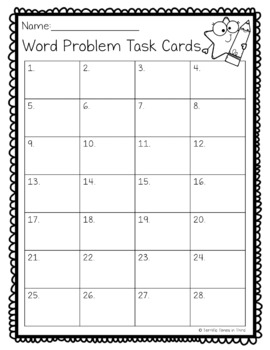 Problem Solving Task Cards for All Operations