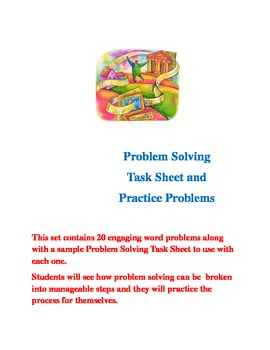 Problem Solving Task Sheet and 20 Word Problems