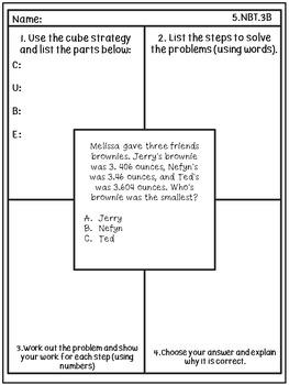 Problem Solving/Test Prep Frayer Model: Fifth Grade Math