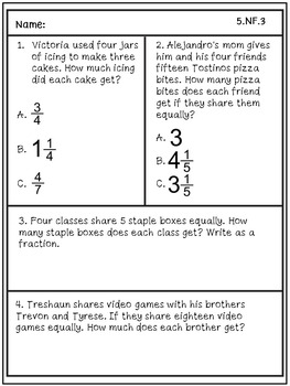 Problem Solving/Test Prep Practice: Fifth Grade Math