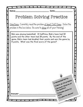 Problem Solving - Two Step Problems **NO PREP**