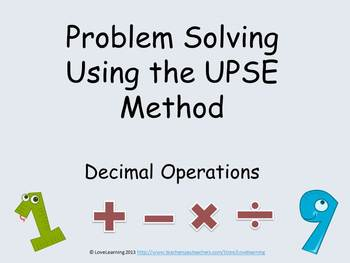 Problem Solving Using the UPSE Method - Decimal Operations