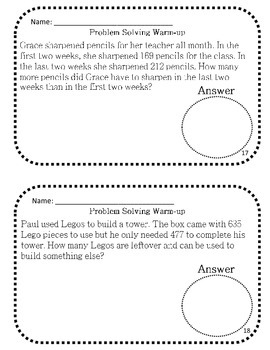 Problem Solving Questions - Addition and Subtraction