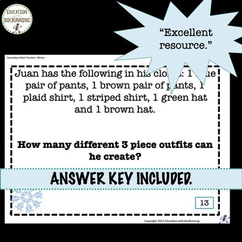 Problem Solving Winter Puzzles for Warm-Up, Bell-Ringers, and More!