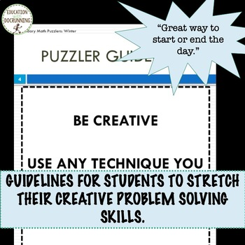 Winter Math Problem Solving Puzzles for Bell-ringers, enrichment and more