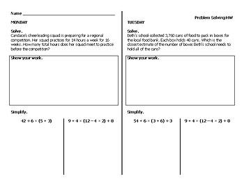 Problem Solving/Word Problems Homework