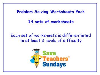 Problem Solving Worksheets Bundle / Pack (14 sets for 1st - 2nd grade)