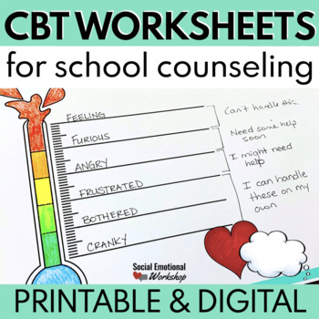 Cbt Worksheets Feelings Thermometers And Thought Maps Tpt