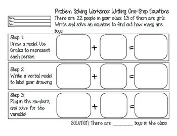 Problem Solving Workshop: Equations Word Problem Graphic Organizers