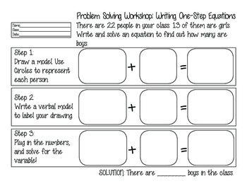 Problem Solving Workshop: Equations Word Problem Graphic Organizers
