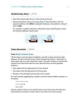 Problem Solving and Basic Addition - Lesson Plan for 2nd grade