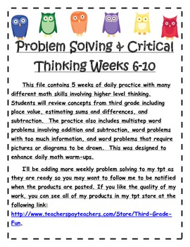 Problem Solving and Critical Thinking Weeks 6-10