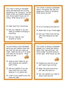 Problem Solving and Social Skills Task Cards:  Halloween and Fall