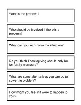 Problem Solving and Social Skills Task Cards: Thanksgiving {FREE}