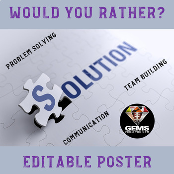 Problem Solving and Team Building Poster - Editable!