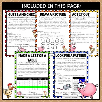 Problem Solving on the Farm- Math Problem Solving Strategy Posters