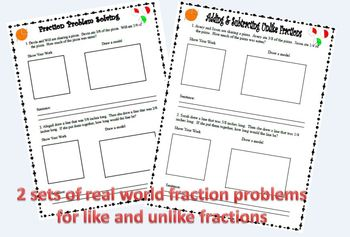 Problem Solving with Fractions Bundle: Like & Unlike denominators