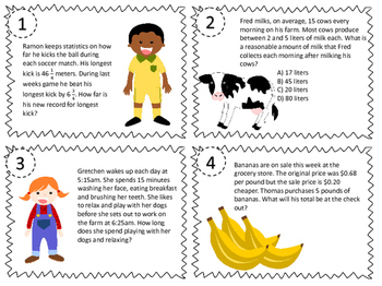 NEW Problem Solving with Measurement Task Cards 4.8C, 5.7A, 4.MD.A2 & 5.MD.A.1
