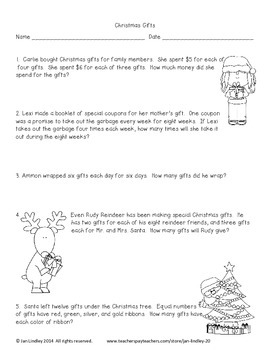 Problem Solving with Multiplication and Division-Christmas Theme