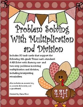 Problem Solving with Multiplication and Division (Thanksgiving Theme) TEKS 4.4H