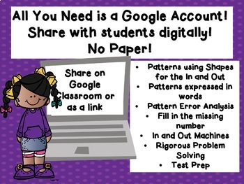Problem Solving with Number Pairs and Patterns TEKS 3.5E Google Classroom Ready!