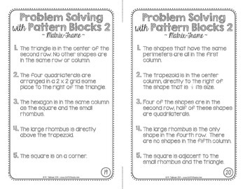 Problem Solving with Pattern Blocks 2  Math Centers