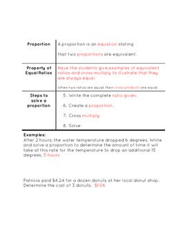 Problem Solving with Proportions Notes TEKS 7.4D
