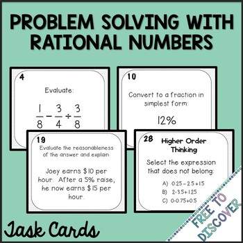 Problem Solving with Rational Numbers Task Cards