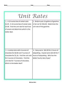 Problem Solving with Ratios & Unit Rates