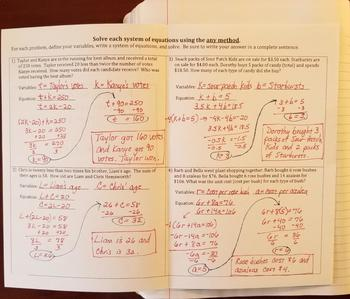 Problem Solving with Systems of Equations  (Foldables)