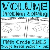 Problem Solving with Volume, 5th Grade Volume Lesson & Quiz (5.MD.5)