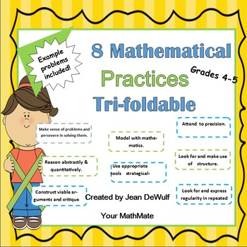 Problem Solving with the 8 Mathematical Practices Tri-Foldable Grades 4-5